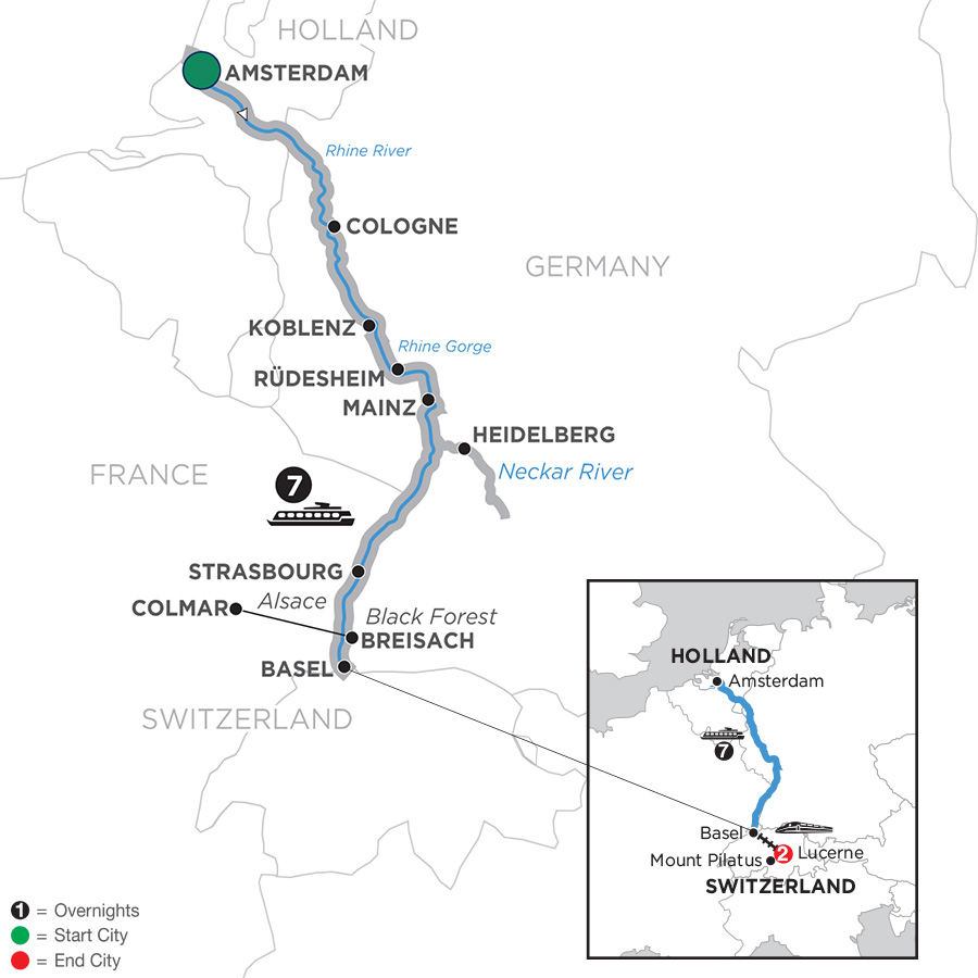 Map Of Germany And Holland.Holland River Cruises Avalon Waterways