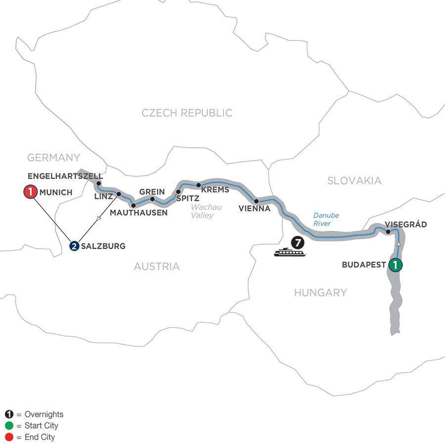 Active & Discovery on the Danube with 2 Nights Salzburg Area & 1 Night Munich – Westbound
