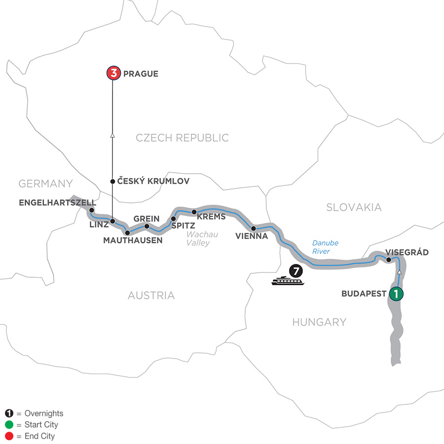 Active & Discovery on the Danube with 3 Nights Prague – Westbound