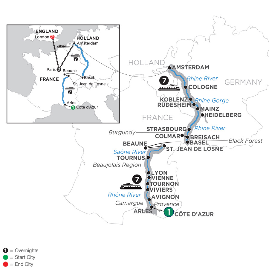 Rhine & Rhône Revealed with 3 Nights Paris & 3 Nights London – Northbound