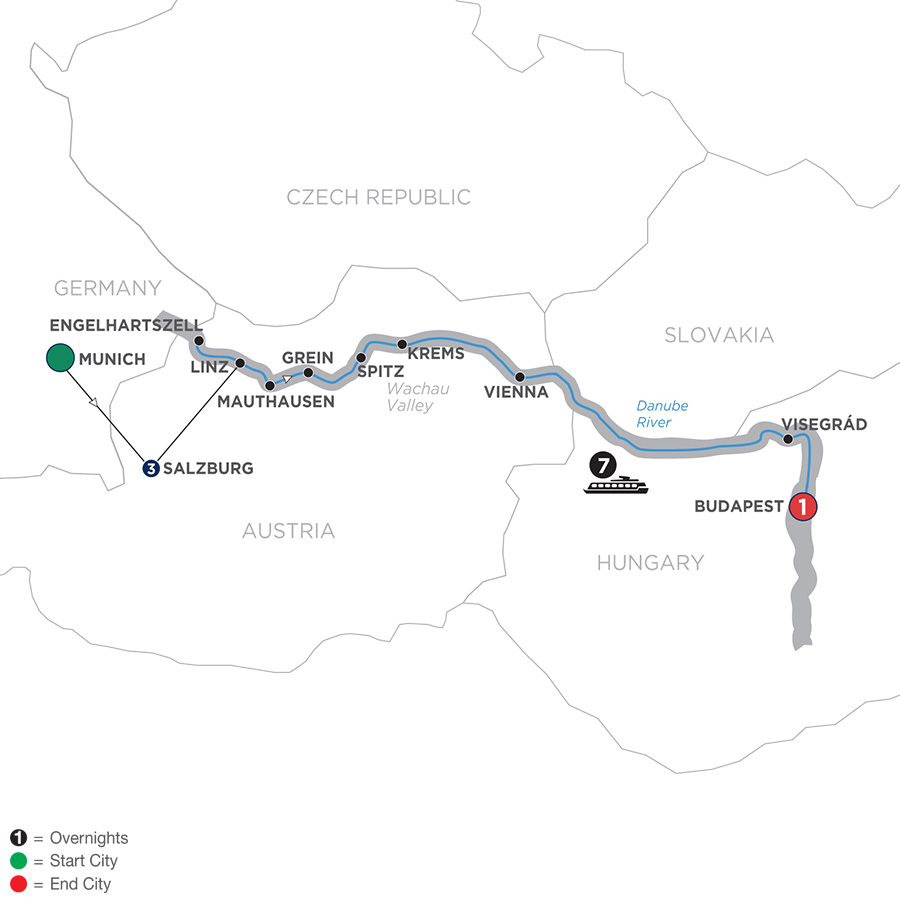Active & Discovery on the Danube with  3 Nights Salzburg area – Eastbound
