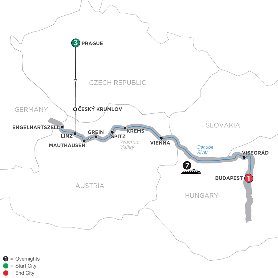 Active Discovery on the Danube with 3 Nights Prague – Eastbound