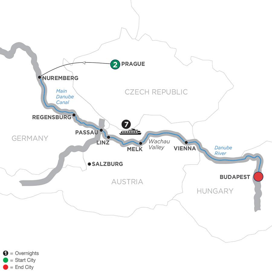Festive Danube River Cruise Avalon Waterways Europe - Danube river on world map