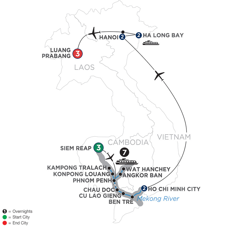 The Heart of Cambodia & Vietnam with Luang Prabang – Southbound