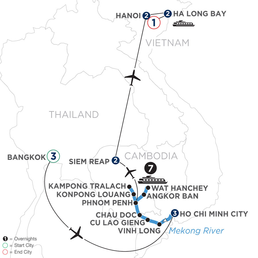 The Heart of Cambodia & Vietnam with Bangkok (Northbound)