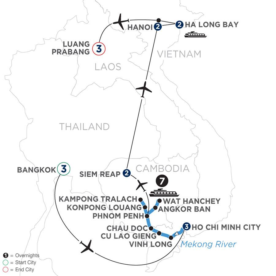 The Heart of Cambodia & Vietnam with Bangkok & Luang Prabang (Northbound)