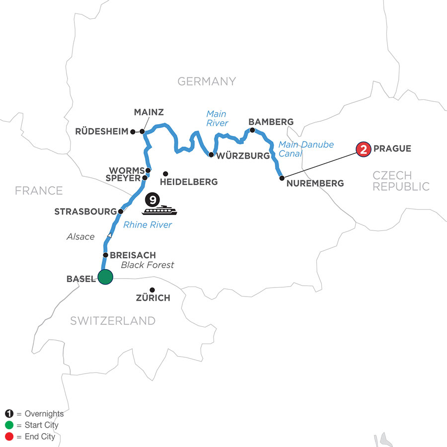 Christmastime from Basel to Nuremberg with 2 Nights in Prague