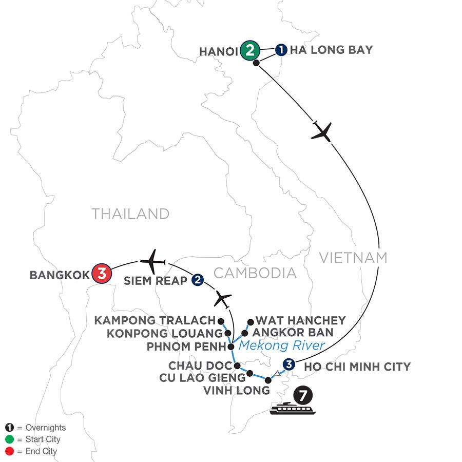 Fascinating Vietnam, Cambodia & the Mekong River with Hanoi, Ha Long Bay & Bangkok (Northbound)