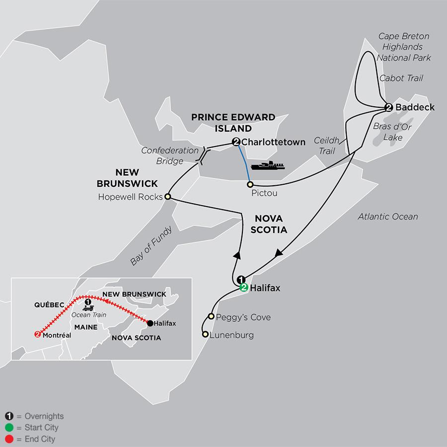Atlantic Canada's Coastal Wonders with Ocean train to Montreal