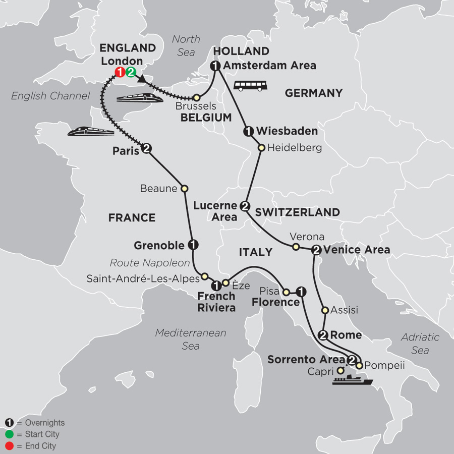 Map Of France Germany Switzerland.France Tours Holland Tours Cosmos Affordable Tours