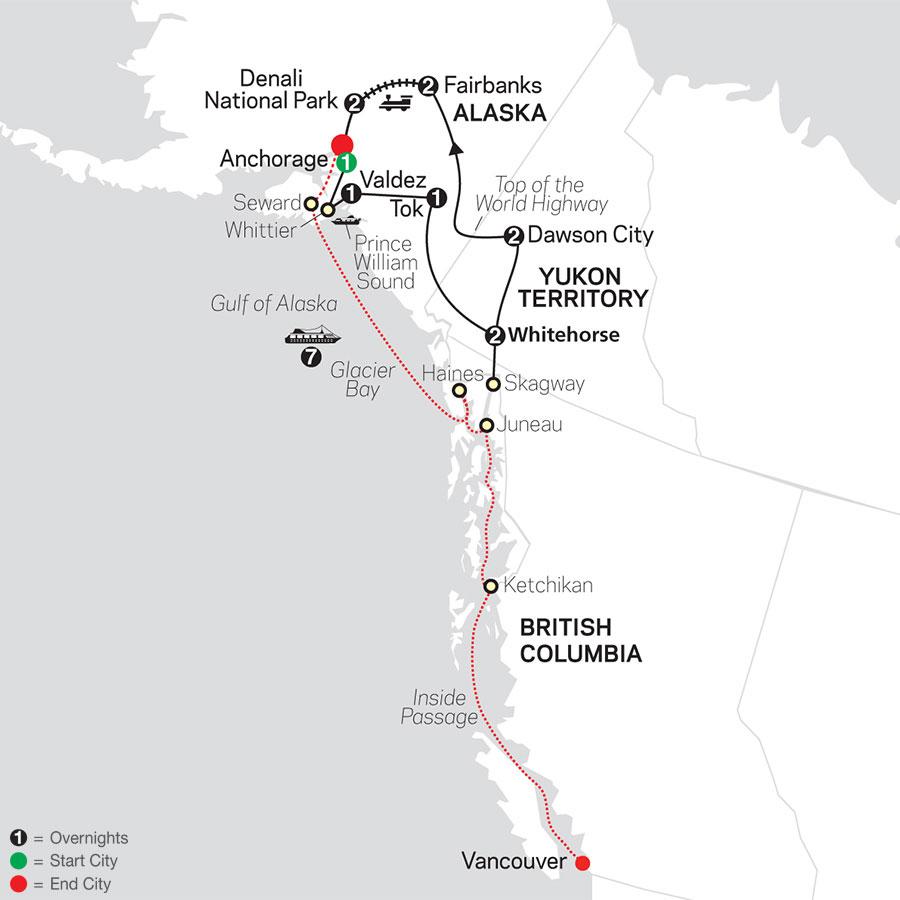 Alaska & the Yukon with Alaska Cruise