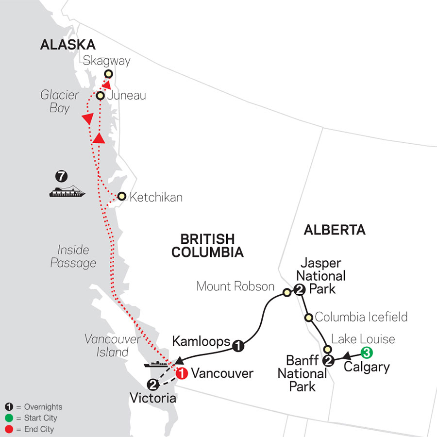 Heart of the Canadian Rockies with Calgary Stampede & Alaska Cruise