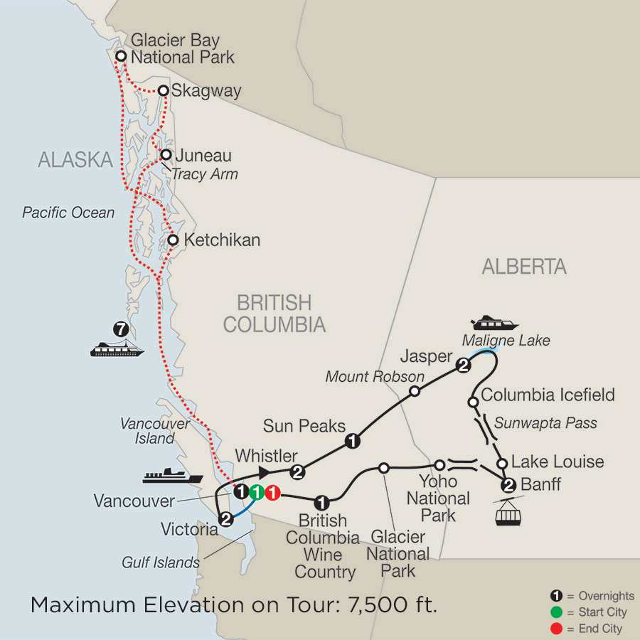 Grand Western Canada Vacation with Alaska Cruise