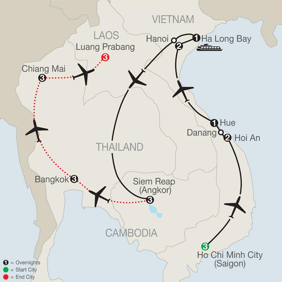Exploring Vietnam & Cambodia with Bankkok, Chiang Mai & Luang Prabang