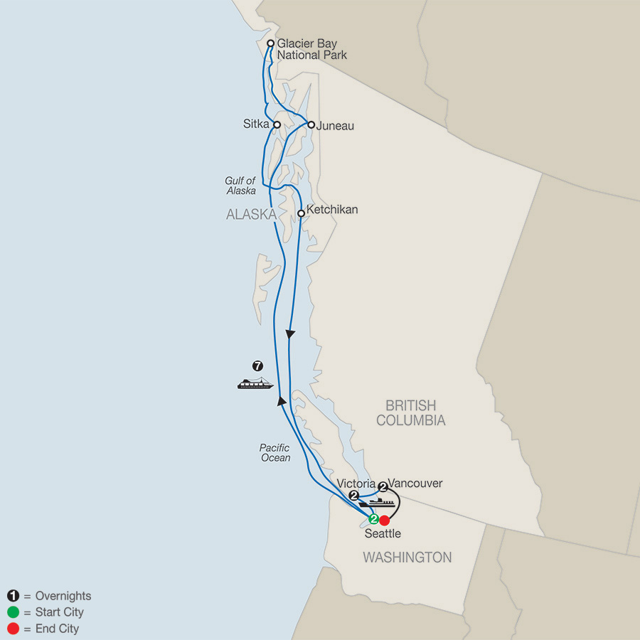 Seattle, Victoria & Vancouver with Alaska Cruise