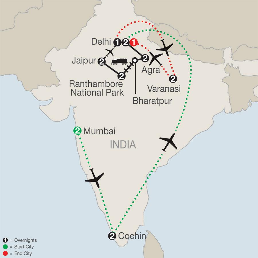 Icons of India: The Taj, Tigers & Beyond with Southern India & Varanasi