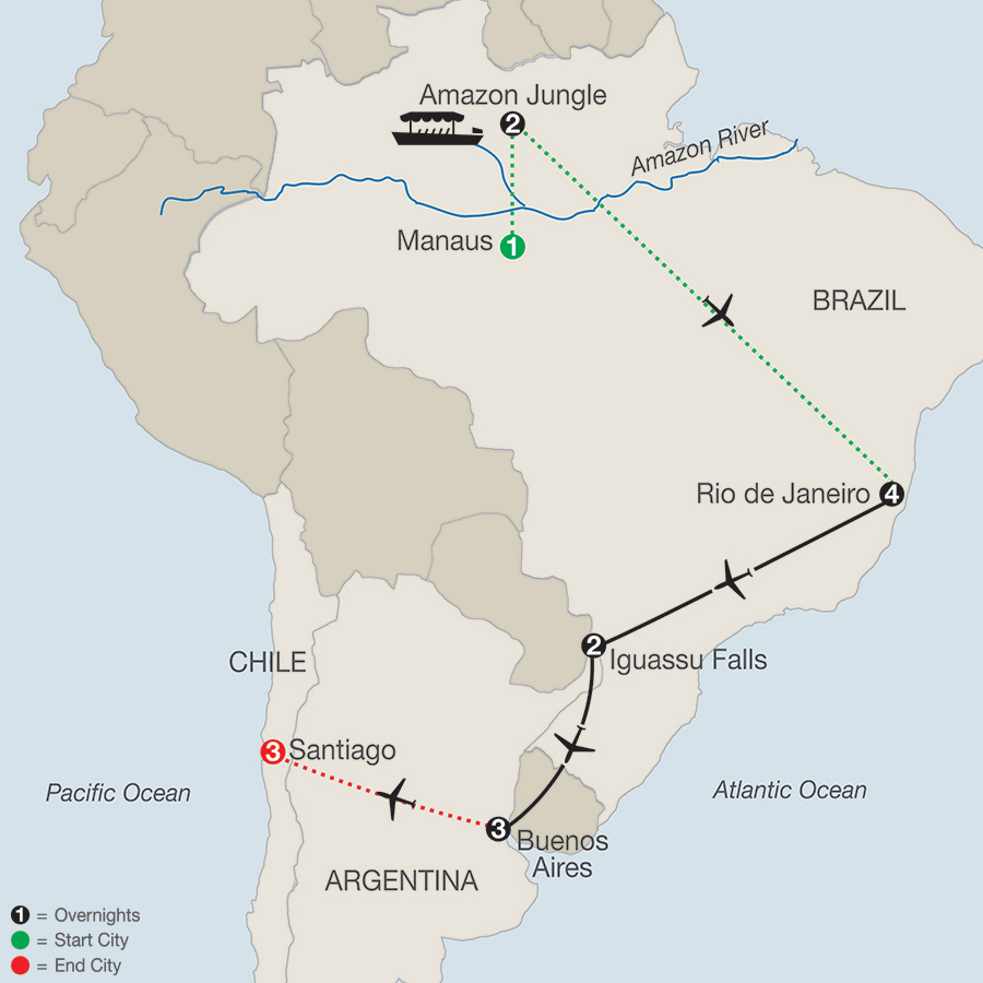 South America Getaway with Amazon & Santiago