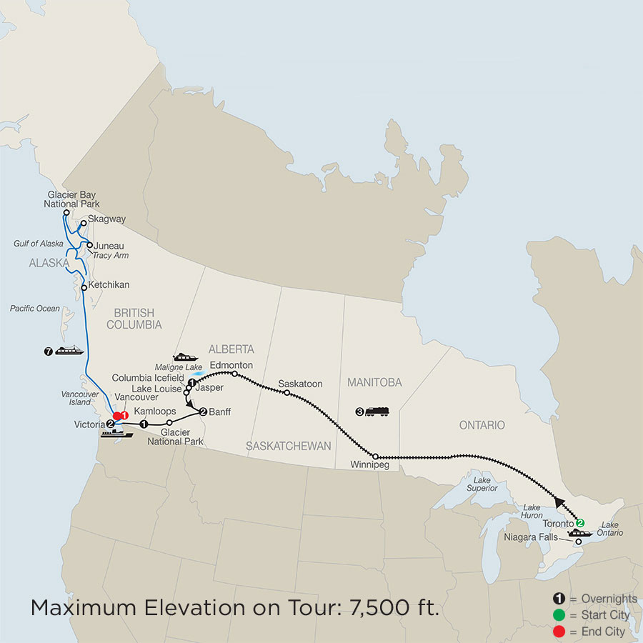 Great Canadian Rail Journey with Alaska Cruise