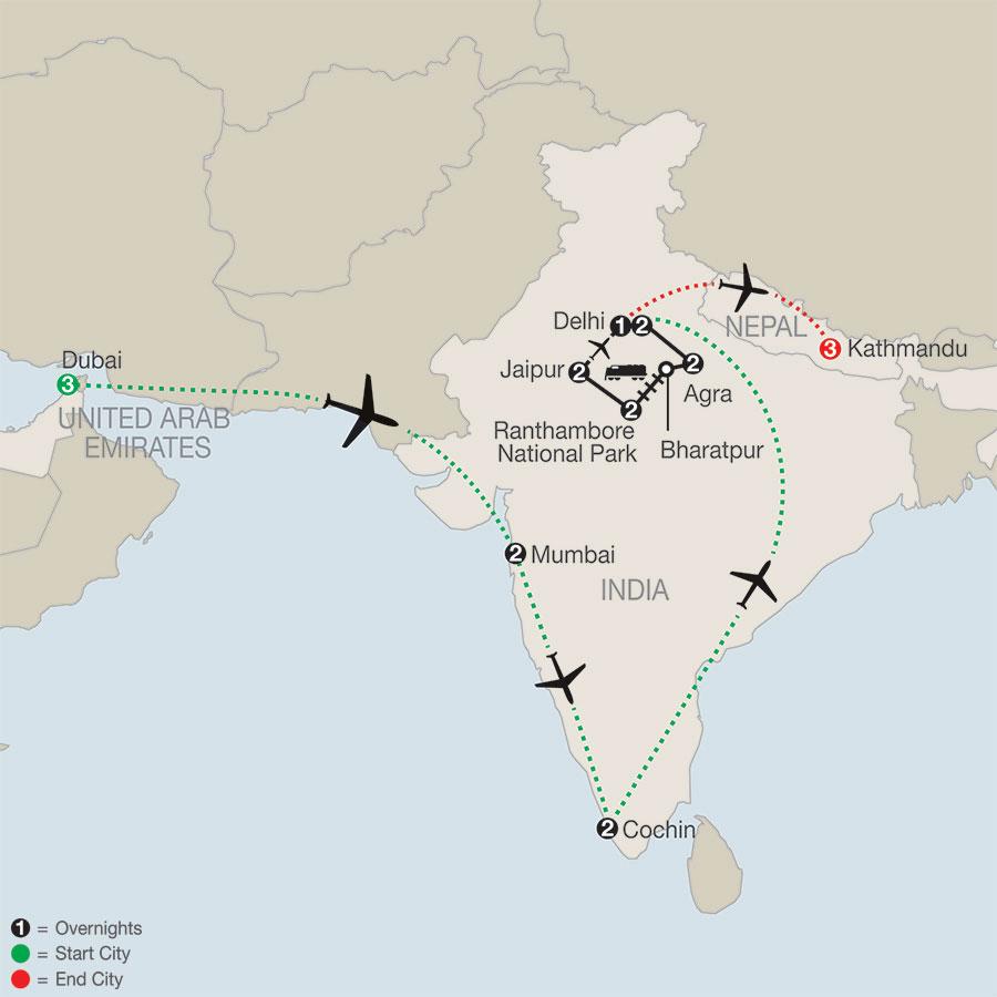 Icons of India: The Taj, Tigers & Beyond with Dubai, Southern India & Kathmandu