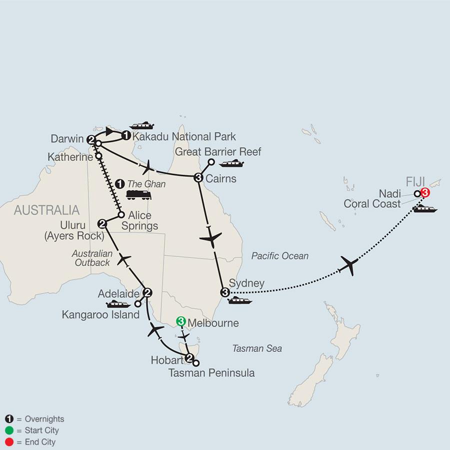 Exploring Australia with the Legendary Ghan Train & Fiji