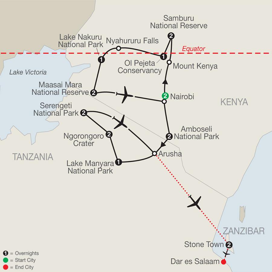 Kenya & Tanzania: The Safari Experience with Nairobi & Zanzibar