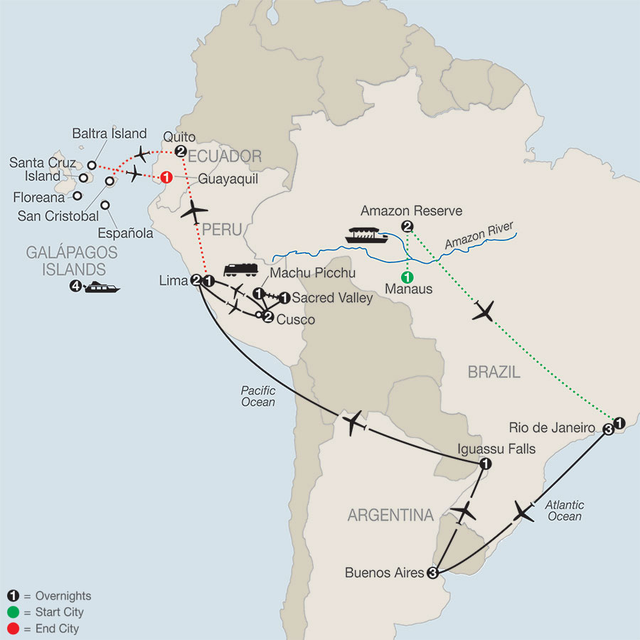 Spirit of South America with Amazon & Galápagos Cruise