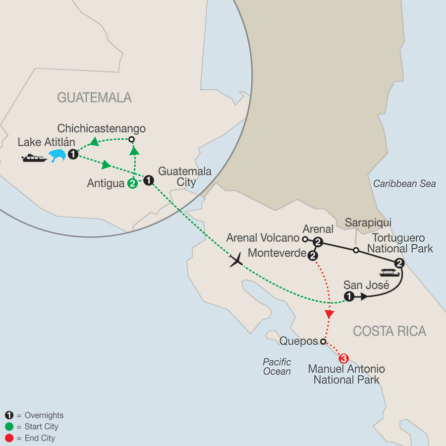 Natural Wonders of Costa Rica with Guatemala & Manuel Antonio
