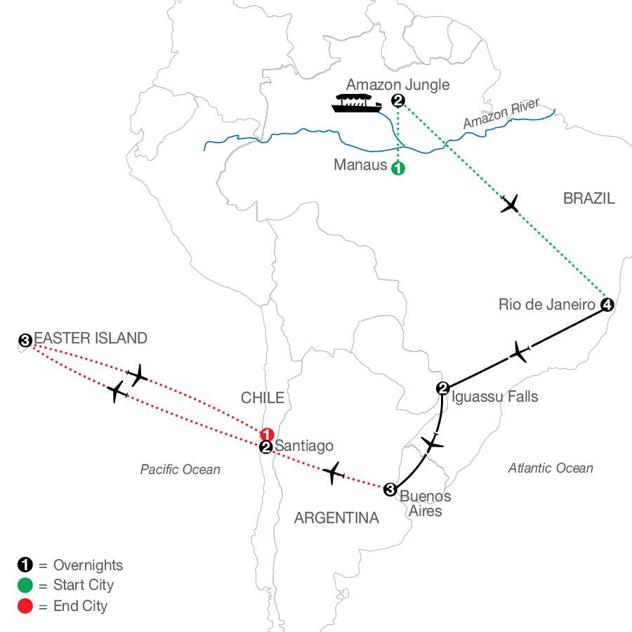 South America Getaway with Amazon, Santiago & Easter Island