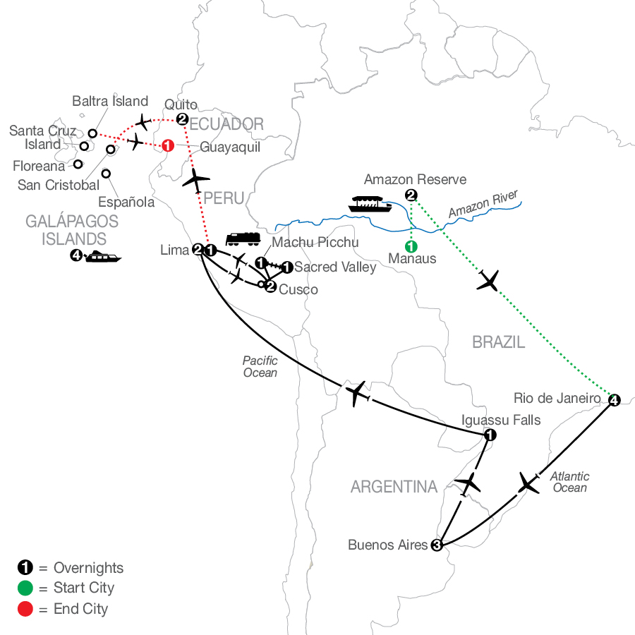 Spirit of South America with Amazon & Galápagos Cruise